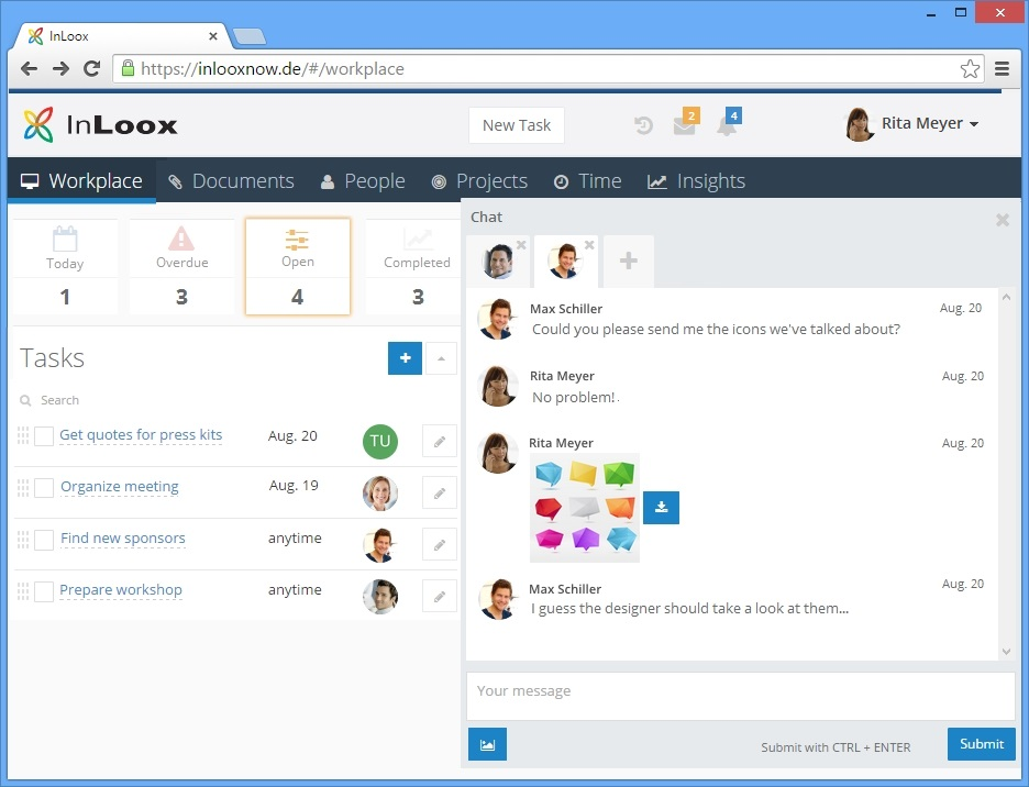 <b>Chat</b> – One-on-one project communication like never before