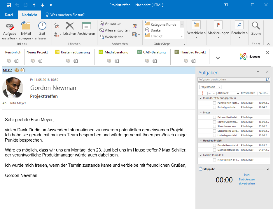 <b>Outlook Synchronization</b> – Benefit fully from the synergies between Outlook and InLoox